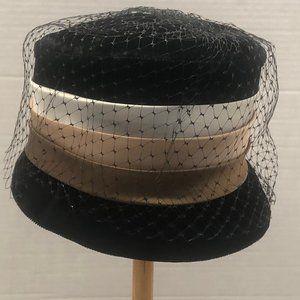 Vintage Black Velvet Button Hat.
